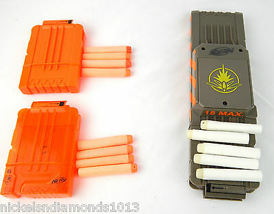 Lot of 3 NERF N-Strike Replacement 18 Max Light Up & (2) - 6 Dart Ammo Clips