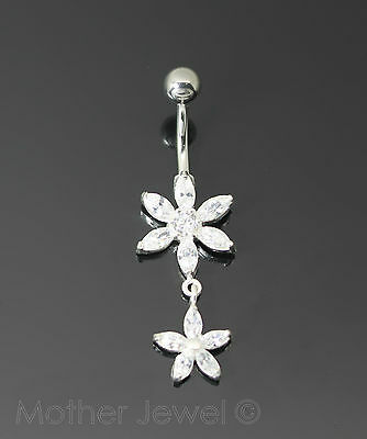 Real 925 Sterling Silver Double Flower Surgical Steel Navel Belly Curved Ring