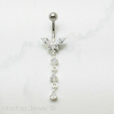 Real 925 Sterling Silver Butterfly Dangle Surgical Steel Navel Belly Curved Ring