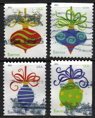 Scott #4575-78 Used Set of 4, Holiday Baubles Forever Stamps