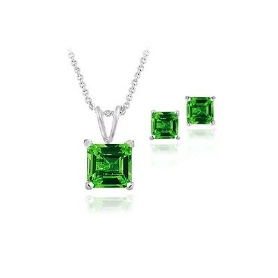 925 Silver 3.65ct Lab Created Emerald Square Solitaire Pendant & Stud Earring S