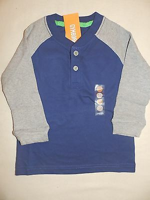 Gymboree ICE ALL STAR Boys Navy Blue Grey L/S Raglan Henley Shirt NWT 18-24 2T