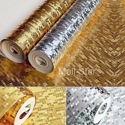 10M Mosaic Silver/gold Foil Wallpaper Roll Tiles Luxury Metallic Glitter Design