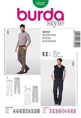 Burda Sewing Pattern Mens Straight Trousesrs Pants Sizes 34 - 50 7022