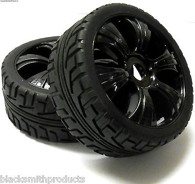 180023 1/8 Scale Buggy RC Wheels and On Road Tread Tyres 6 Spoke Black 2
