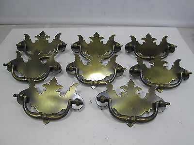 8 Vintage Chippendale Flat Style Metal Drawer Pulls  #318