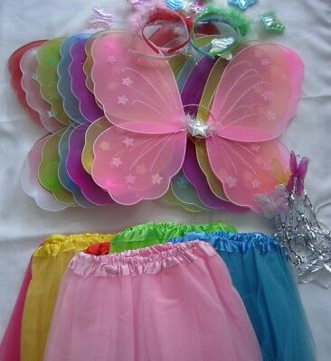 4 Pc Girl Kids Fairy Butterfly Wings Wand Headband Tutu Skirt Party Costume