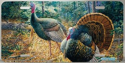 Turkey, Tom And Hen Metal License Plate Car Tag Highly Detailed. New