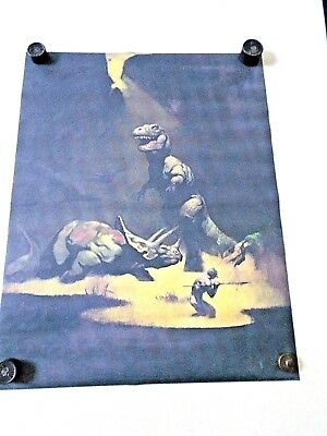 "Frazetta / T-Rex & Warrior / 17 3/4 x 22 3/4"" / Art Fantasy / Exc.+New cond."