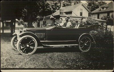Folks in Early Car Auto c1910s Real Photo Postcard MAKE/MODEL?