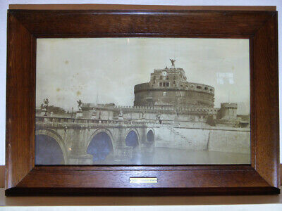 Antique Albumen Photograph CASTEL ST ANGELO, ROME, ITALY, 1880 Cleaned Oak Frame