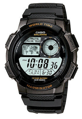 Casio AE1000W-1A Men's Black Resin Band 5 Alarms Chronograph World Time Watch