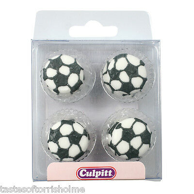 Culpitt 12 Edible Black & White Round Football Sugar Cake Toppers Decorations
