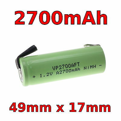 Replacement Toothbrush Battery 49mm x 17mm 1.2v 2700mAh A size Braun Oral-B