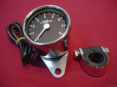 New Chrome Mini Tach Tachometer For Harley With Clamp