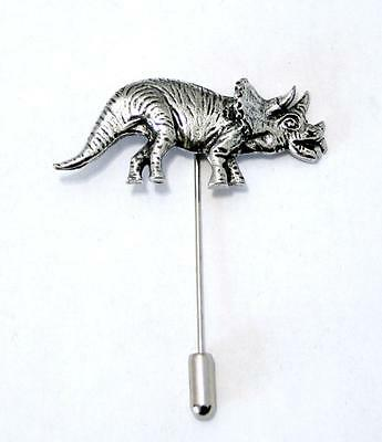 Triceratops Dinosaur Lapel Stick Pin in Fine English Pewter, Handmade, Jurassic