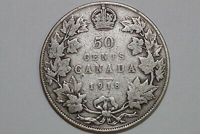 Great Value 1918 Canada Sterling Silver 50 Cent Piece That Grades Fine CAN360