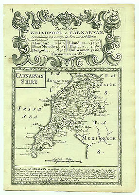 1720 Bowen Antique Map of Carnarvanshire Road Map Montgomeryshire Merionethshire