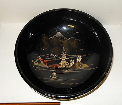 Aizu Japanese Hand Painting Black Lacquer Bowl