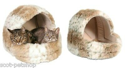 Trixie Leika Cushy Cat Cave Plush Cat Bed Beige & White