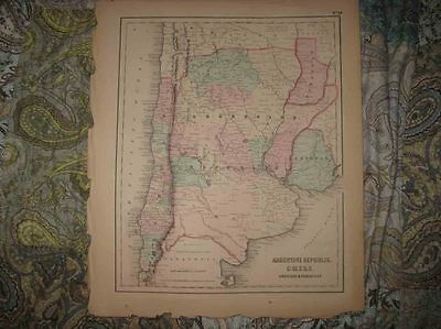 Antique 1855 Argentina Chile Uruguay Paraguay South America Colton Handcolor Map