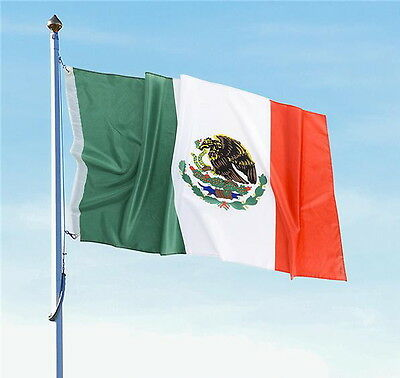 "Lot Of 2 Mexican Flag 3 X 5 Feet With Brass Grommets 36"" X 60"" In/Outdoor Flags"