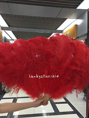 burlesque dancing 47 inch Red Marabou &Ostrich feather fan in gift box recommend