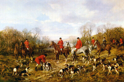 Autumn Meeting Hunters Horse Dog British Hunting Painting By Heywood Hardy Repro