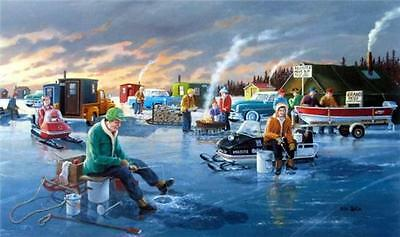 Back in the Day By Ken Zylla Snowmobile Ice Fishing Print  30 x 18 SN