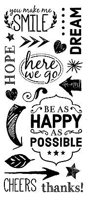 Paper House BE HAPPY Black Rub-On Transfers scrapbooking SMILE DREAM HOPE