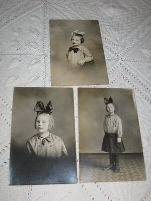 Vintage Antique Lot 3 Old Photos Little Girl W/Giant Hair Bow 1920s