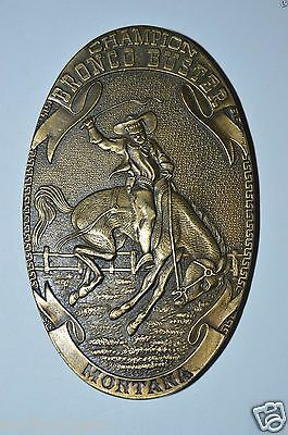 WOW Vintage Champion Bronco Busters Rodeo MONTANA Cowboy Belt Buckle MINTY