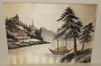 Old Japanese Silk Sail Boat River Temple Embroidery Tapestry Painting