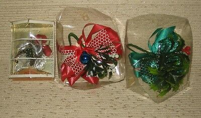 Vintage 1960s Christmas Corsages with Original Boxes Lot of 3