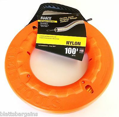 Klein Tools 100' Ft Non Conductive Nylon Fish Tape 56012 Made In Usa Electrical