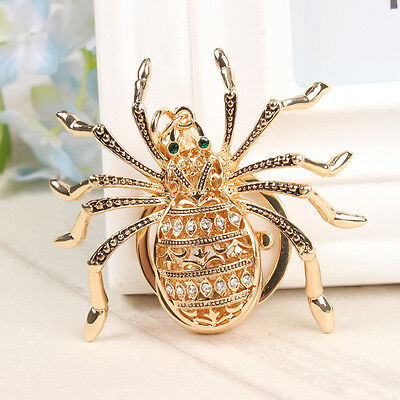 Cute Spider Web Insect Spyder Pendant Metal Crystal Purse Bag Key Ring Chain Gif