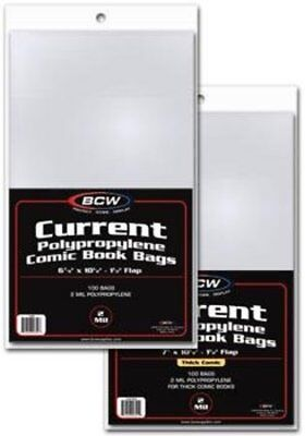 """BCW Current Comic Bag Thick 7"""" x 10 1/2"""" Pack of 100"""