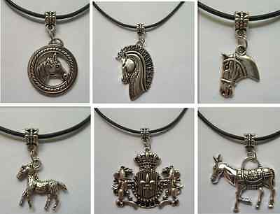 1/10pcs Tibetan silver zinc alloy like horse necklace and black rope gift