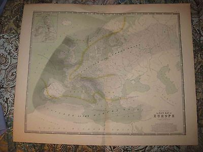 Huge Antique 1856 Hyetography Rain Europe Blackwood Map Russia France Poland Nr