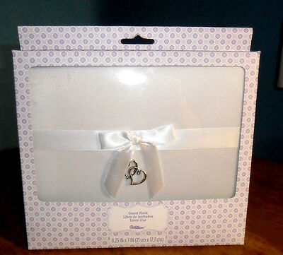 """Wilton Wedding Hearts Bow White Guest Book 8.25"""" x 7"""" NEW"""