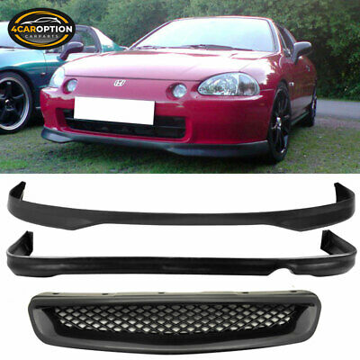 Fit 96-98 Honda Civic 2 4Dr T-R Style PP Front Rear Bumper Lip & ABS Hood Grille