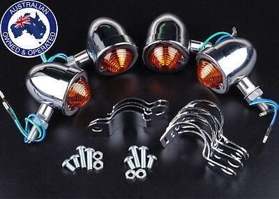 4x Motorcycle Silver Turn Signal Indicator Light For Harley Chopper Cafe Racer