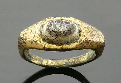 Roman Brass Gilded Ring With A Nicolo Intaglio (J524)
