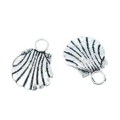 Packet of 10 x Antique Silver Tibetan 12mm Charms Pendants (Shell) ZX03540