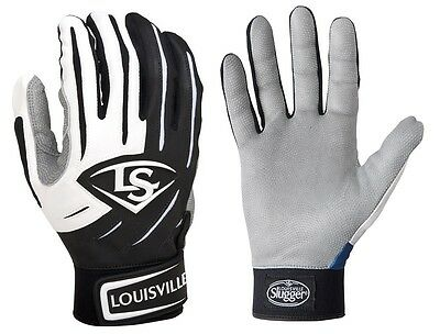 1 pr Louisville Slugger BGS714 Adult X-Small Black/White Series 7 Batting Gloves