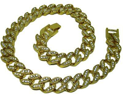Fully Iced out 32 inch Miami Cuban Link Gold Plated HipHop Bling Chain