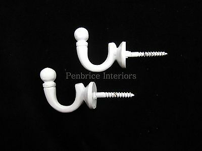 2 White metal curtain tassel hooks  Ball tie back wall hooks SOLID STRONG
