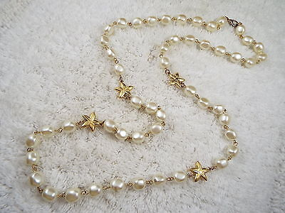 Goldtone White Bead Starfish Link Chain Necklace (B39)