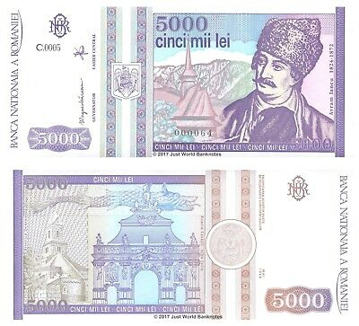 Romania 5000 Lei 1993 P-104 Very Low Serial Number 0000XX Mint UNC