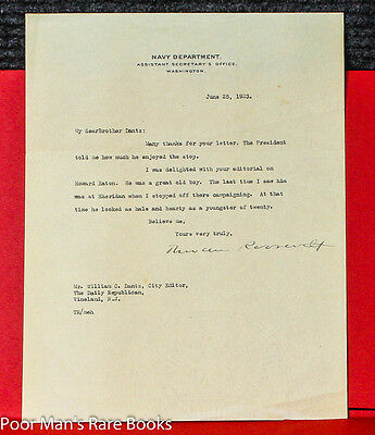 Roosevelt, Theodore [Iii] Typed Letter Signed. Roosevelt Edith Kermit Autograph